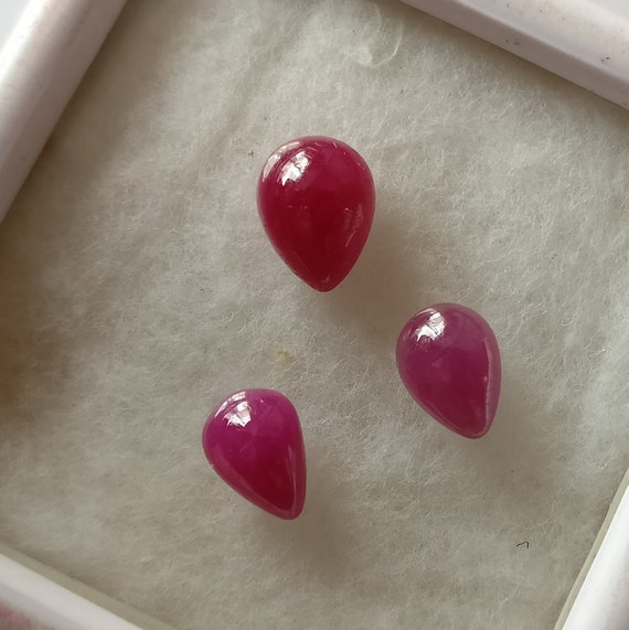 RUBY Gemstone Cabochon 3.75 Ct Natural Non Treated Flawless RUBY Pear Cabochon Set Of 3 Pieces