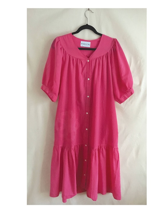 Pink  house dress with button snap front, vintage