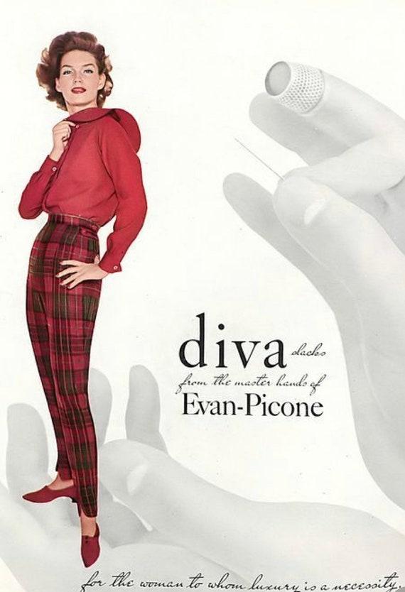 40s/ 50s vintage velvet cigarette pants, capris, … - image 3