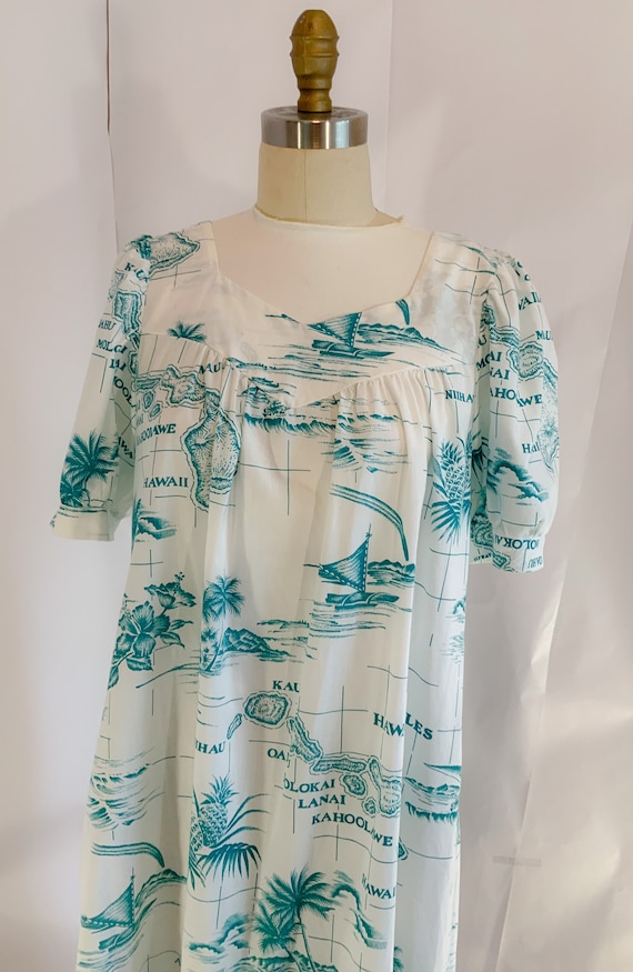 Vintage 50s Hawaiian dress, Hawaiian house dress,… - image 9