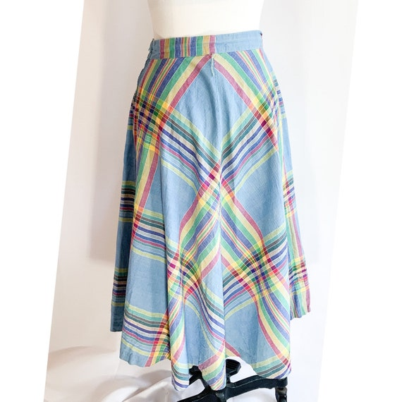 Rainbow skirt plaid circle skirt 1970s mid length