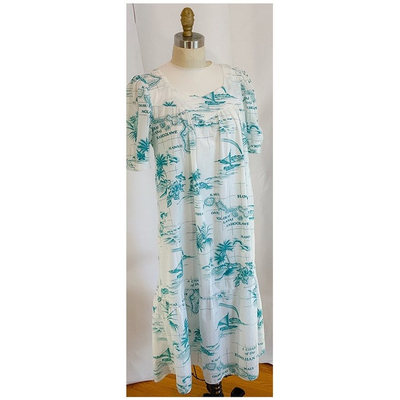 Vintage 50s Hawaiian dress, Hawaiian house dress,… - image 1
