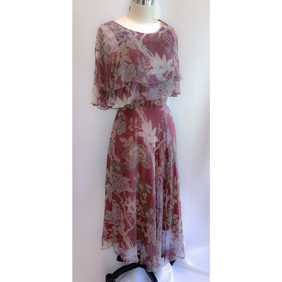 30s  Floral flutter sleeve  dress , with layers ,v