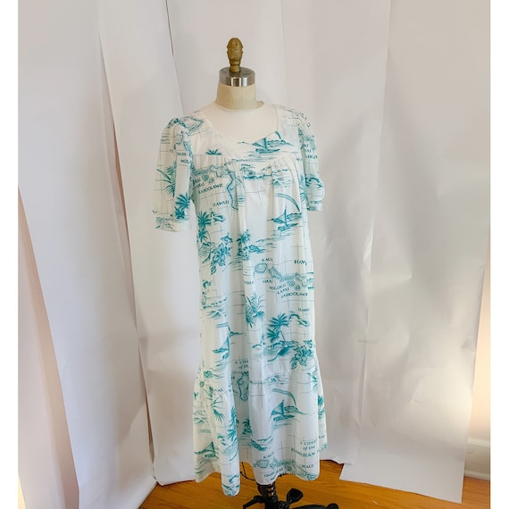 Vintage 50s Hawaiian dress, Hawaiian house dress,… - image 2