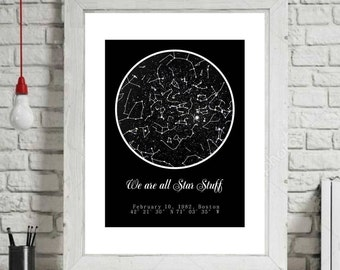 Personalized Night Sky. Custom sky map. Сustom star map. Night sky map, Sky Map Poster, Star Map By Date,Family Portrait,Gift