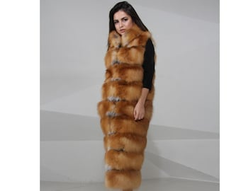 Vest of fox fur, whole skins, real fur vest, fur vest, fox fur vest, red fox vest, red fox, fox vest, waistcoat from fox fur, real fox fur
