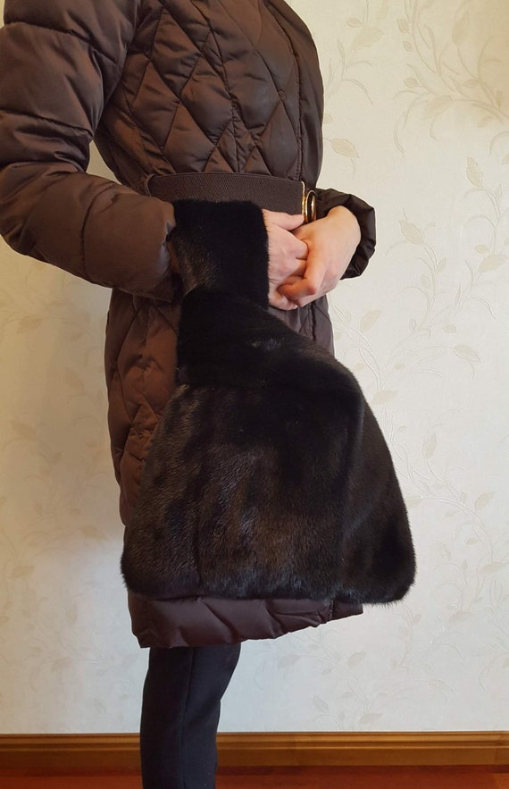 Real mink fur handbag whith dark green mink  ee9d92a585b30