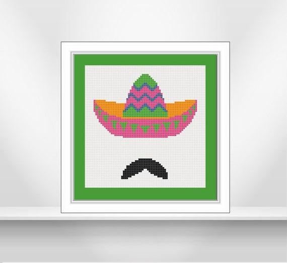 Patrón punto de cruz de sombrero charro mexicano. Divertido y