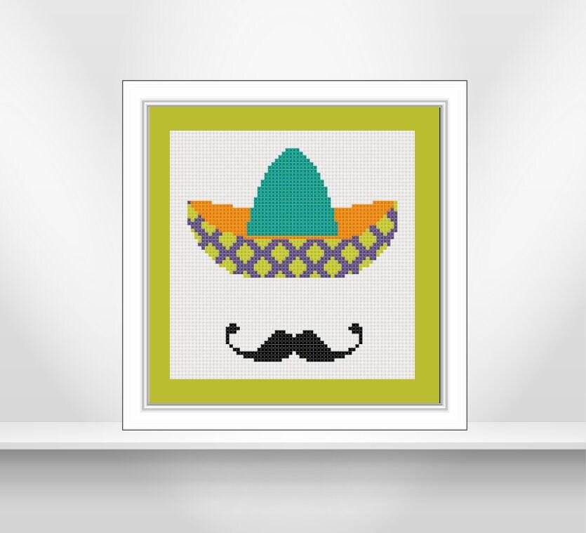 Patrón para punto de cruz de sombrero mexicano. Divertido y | Etsy