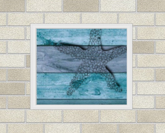 Modern Ocean Cross Stitch Pattern Starfish on a Wood / Patrón Punto ...