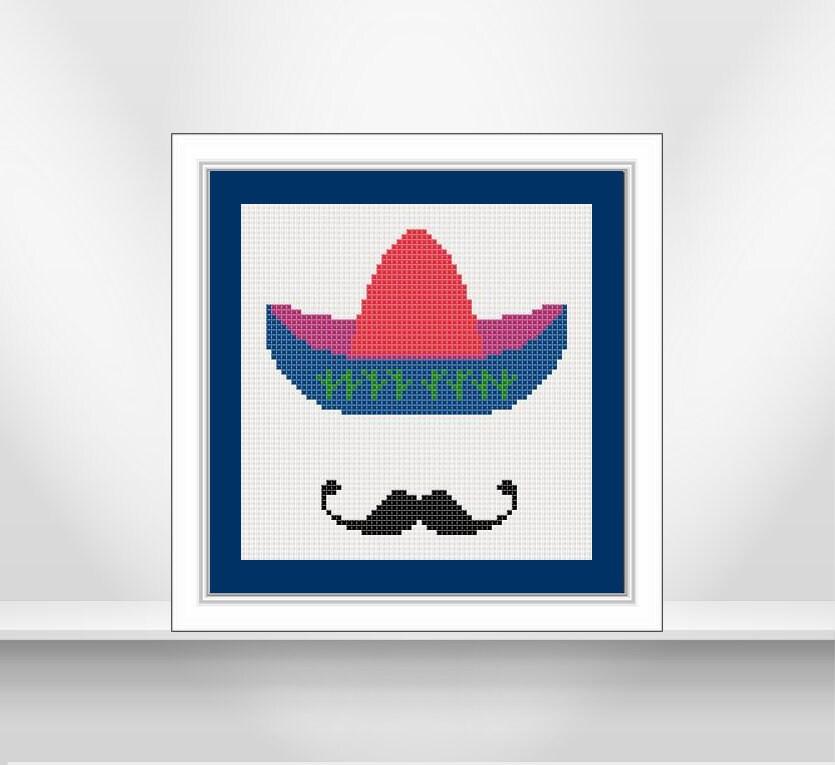 Sombrero mexicano patrón punto de cruz. De alegres colores | Etsy