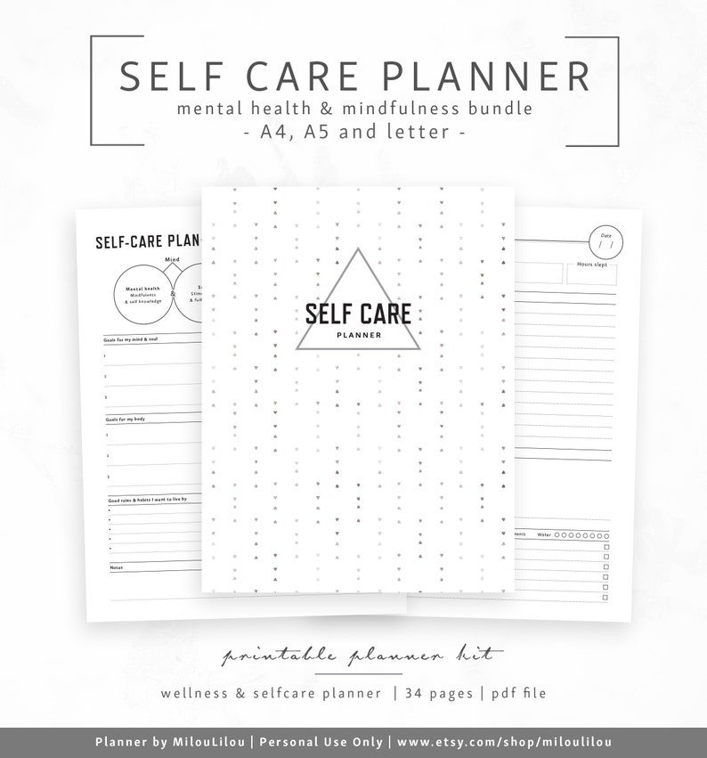 image regarding Printable Self Care Plan named Selfcare Planner - A4 A5 Letter - Mindfullness Psychological Exercise Wellbeing Selfcare Selflove Brain Soul System Pleasure Black » Electronic Down load