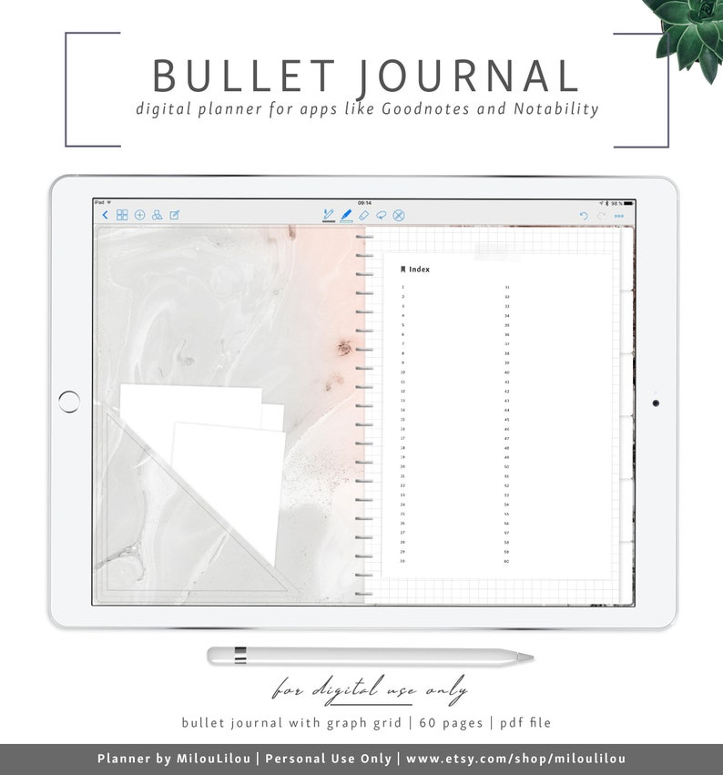 Graph Bullet Journal / Goodnotes & Notability Digital Planner / Square Grid  Template Booknote Notebook Math Notes » Digital Download