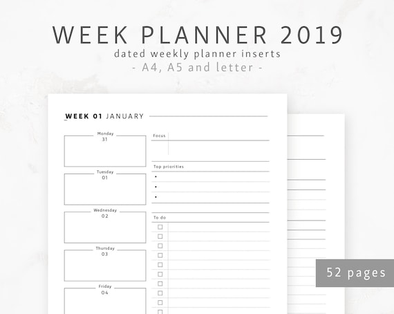 week planner 2019 a4 a5 letter dated weekly planner life etsy