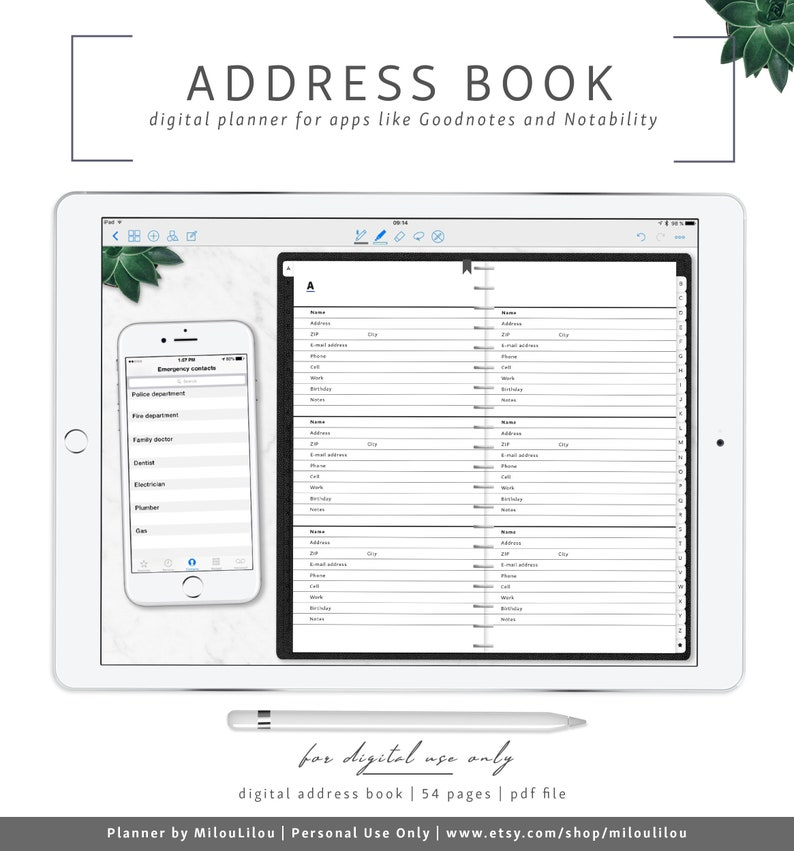 Address Book / Goodnotes & Notability Digital Planner / Phone Book  Addresses Contact Information Digital Phone Notebook » Digital Download