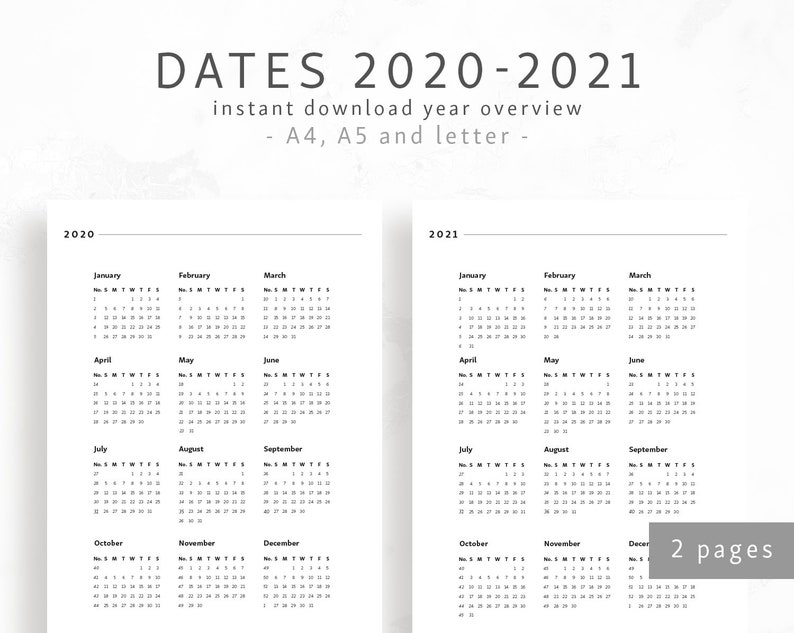 Calendar Year 2020.Year Overview 2020 2021 A4 A5 Letter Minimal Calendar Dates Printable Overview Binder Insert One Page Year Calendar Digital Download