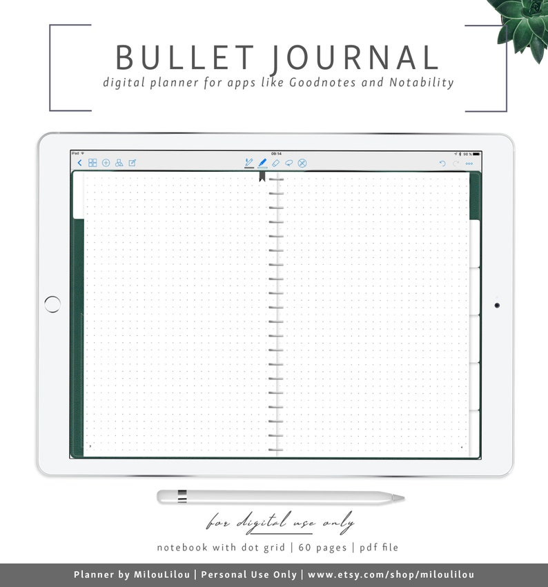 graphic relating to Digital Planners and Organizers called Bullet Magazine Environmentally friendly / Goodnotes Notability Electronic Planner / Bujo Dot Grid Electronic Organizer Laptop » Electronic Down load