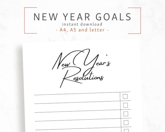 New Years Resolutions 2020.New Year S Resolutions A4 A5 Letter Self Care 2020 Goal Planner New Year New You Life Organizer To Do List Digital Download