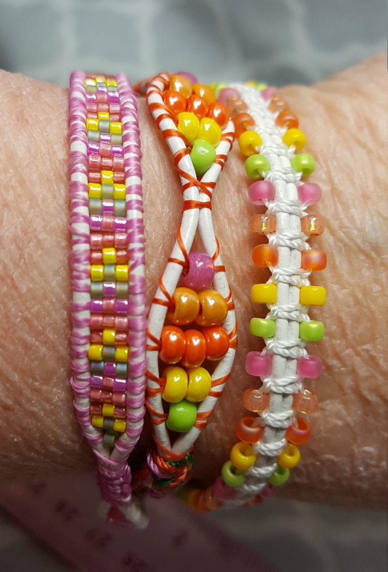Yellow Pink Mother/'s Day Gift Orange Spring Jewelry Triple-Wrap Braclet Green Shades of Sherbet Bracelet Lime Green Daisy Button