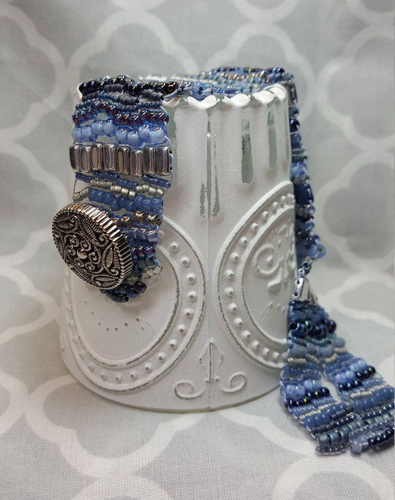 Shades of Denim Denim Three Drop Peyote Beaded Bracelet MADE TO ORDER Button Hole Gift for Her Czech Tile Bracelet