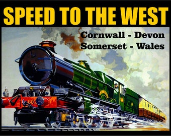 Train Railway// Gift Retro metal wall sign//plaque Speed To The West GWR