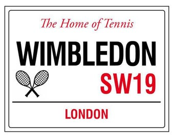 5851191aaf8e8 The home of tennis wimbledon london england street road sign vintage style  metal advertising wall plaque sign or framed picture frame