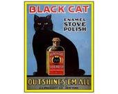 Black cat enamel stove polish vintage style metal advertising wall plaque sign or framed picture frame
