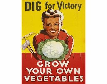 Acrylic keyfob Grow more Vegatables wartime poster