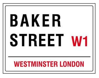 Baker street westminster london england street road sign vintage style metal advertising wall plaque sign or framed picture frame