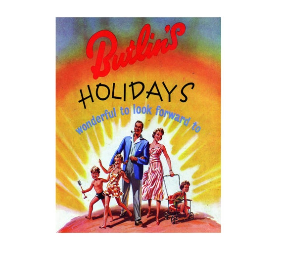 Butlin/'s holidays wonderful to look forward vintage style metal wall plaque sign