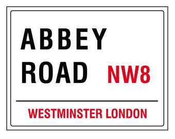 Abbey road westminster london england street road sign vintage style metal advertising wall plaque sign or framed picture frame
