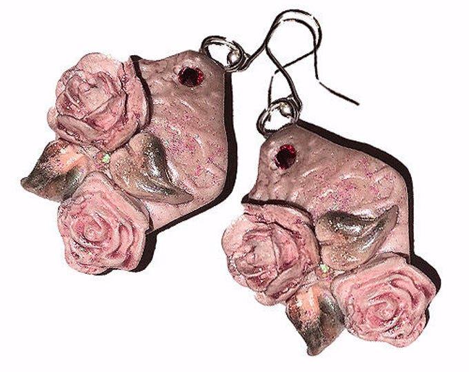 Drop Earrings.HANDCRAFTED Fashion polymer clay Beautiful flower EARRINGS.Pink earrings.jewelry rose handcrafted Polymer clay.Gift idea.