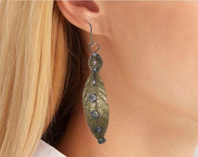 Earrings Beautiful Style Golg Leaves Metallic, Earrings Gold Leaves.Polymer clay.Gift idea.Unique jewelry. Autumn  earrings,earrings leaf.