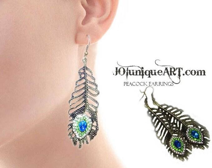 Peacock Earrings,Peacock Jewelry,Earrings Women Rhinestone Peacock Eye Feather,Dangle Hook Earrings,Glamour Earrings,Gift Earrings.