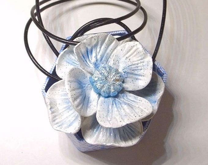 Necklace Blue Flower,Polymer Clay Jewelry,Sliding knot jewelry,Pendant  blue,gift idea for her,studio made,necklace for gift,wedding flower.