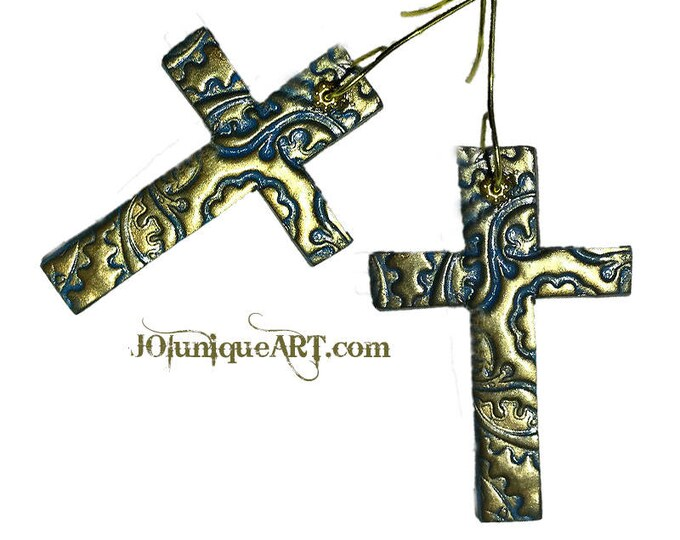 Earrings Cross,Studio made, green earrings,blue cross earrings,Gothic style earrings,Polymer clay,gold color,Gothic cross, Christmas gift .