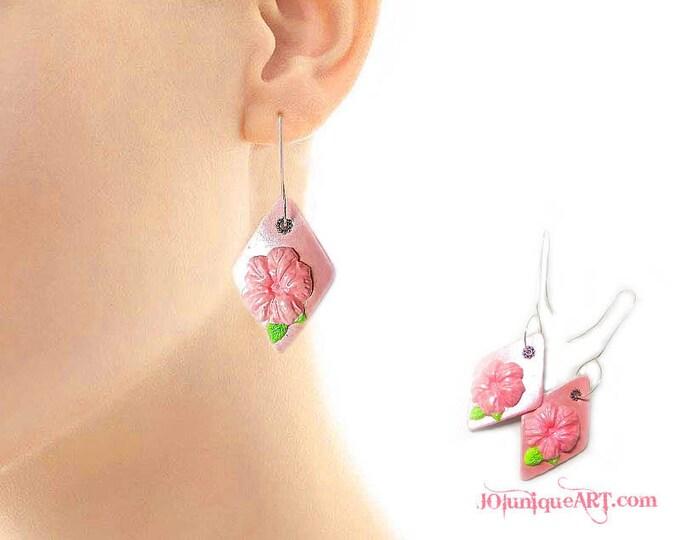 Pink Flower Earrings,Pearl Pink Color Earrings,Long Dangle Earrings,Jewelry Polymer Clay,Silver hooks Earrings,Flower earrings,pink jewelry.