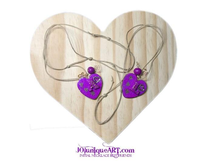 Initial Necklace Best Friends.Purple Heart Pendant.Boyfriend Girlfriend Gift Friendship.Jewelry for Best Friends.Friendship gift set of 2.