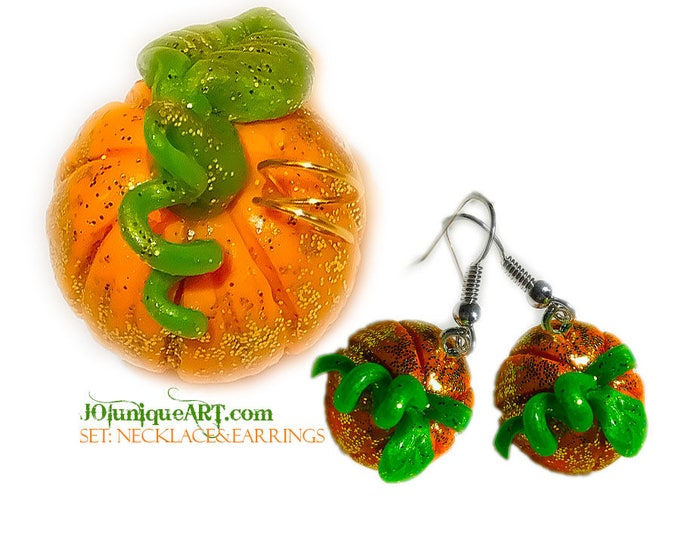 Set Earrings,Necklace Pumpkin.Inspired by the real Pumpkin!these striking earrings make a dazzling statement.Pendants has orange,green cord.