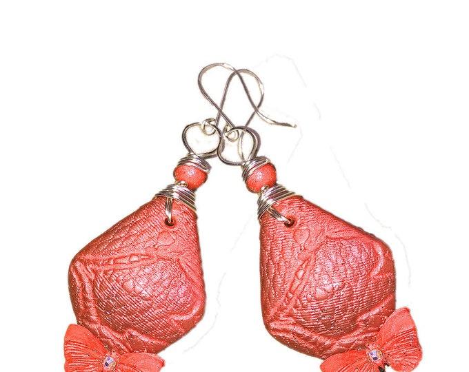 "red Earrings.Amazing.Butterfly Earrings.""Summer Red Fantasy"".Studio made.Polymer clay.Gift idea.Unique jewelry.Earrings.Silver wire earrings"