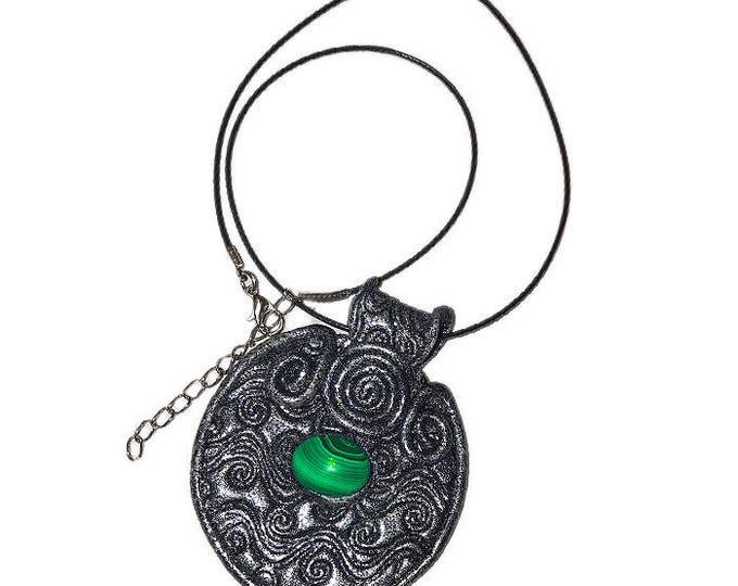 Green Gemstone,hand made jewelry, polymer clay  diy,boho style unique polymer clay.Jewelry Necklace,Artisan Pendant,Malachite India
