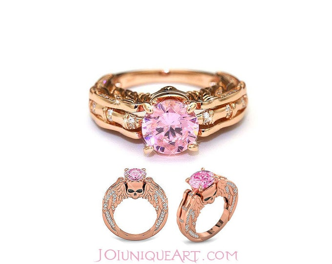 Rose Gold Plated  Sterling Silver Ring scull ,Halloween Woman Pink  ring with Wing,Pink Topaz accents,18K Rose Gold Filled