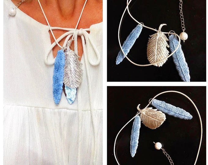 Feathers Necklace jewelry.Polymer clay jewelry.Beautiful pendant imitating real feathers.Three feather white and blue color.