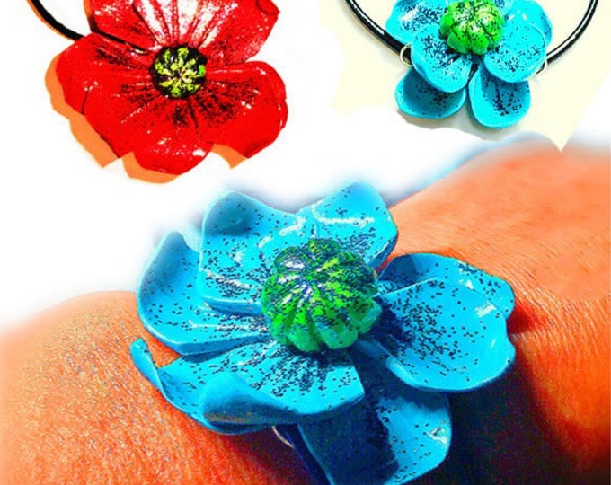 Bracelets Blue,Red Flower,Polymer Clay Jewelry,Sliding knot bracelet,Bracelet big blue , red flower,gift idea for her,studio made bracelet.