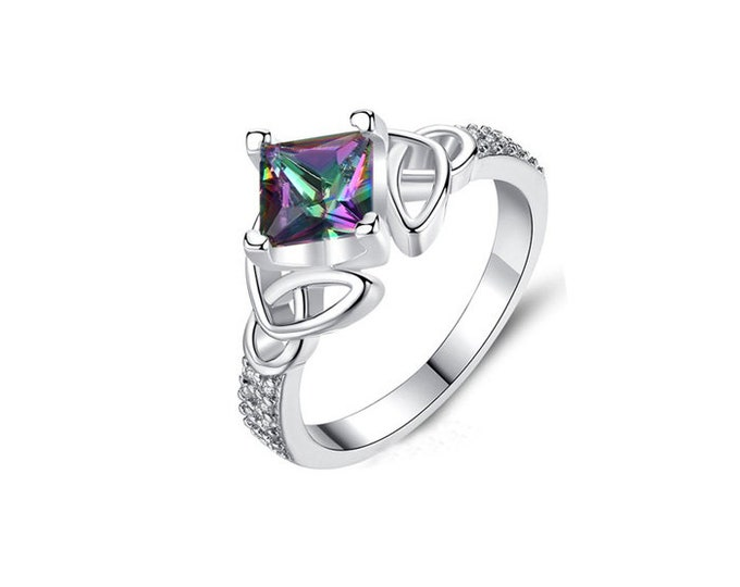 Sterling Silver Ring Rainbow Gemstone CZ,Romantic Woman Ring Rainbow color CZ,Engagement Ring.Celtic Knot Topaz Ring.