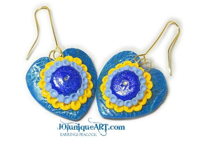 Earrings Peacock,Blue Earrings,Jewelry Polymer Clay,Green Jewelry,Dangle silver hook earrings,women peacock earrings,jewelry peacock.
