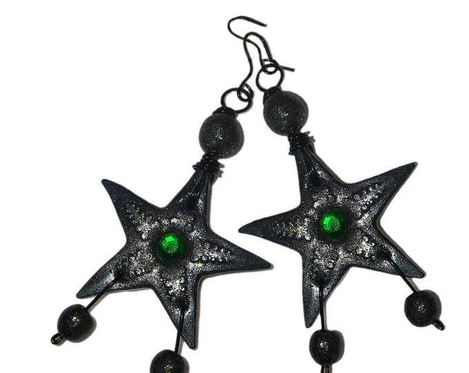 Star Earrings.Swarovski crystals.Studio made.Polymer clay.Gift idea.Unique jewelry.Night Star earring.Fashion earrings.Star shape earring.