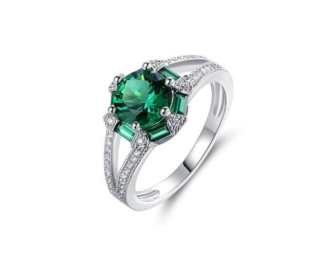 Sterling Silver Ring,Romantic Woman Ring Green,Engagement Ring. Sterling Silver  Emerald,Emerald center complemented CZ, Raw gemstone ring