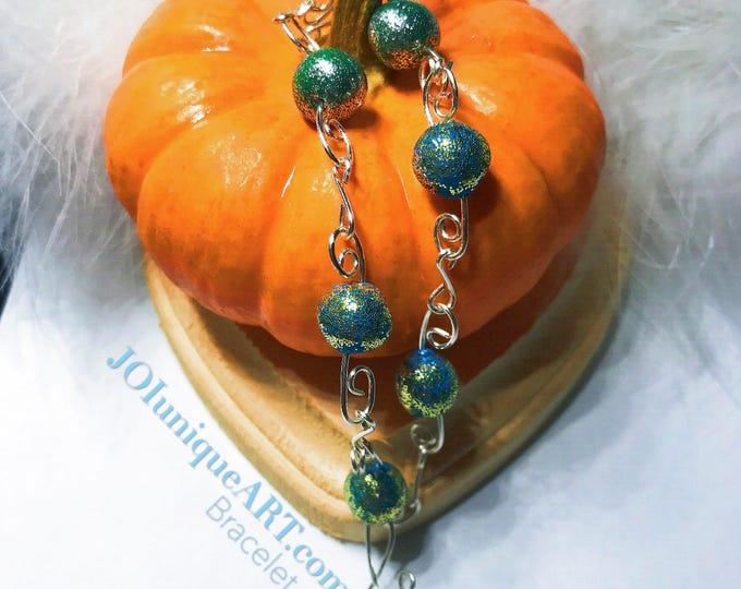 Bracelet polymer clay beads,jewelry bracelet green blue,Boho Bracelet,Wire Silver Bracelet,Beaded Bracelet,Charm Bracelet.