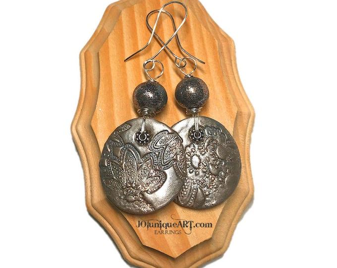 Round Metallic Earrings.Polymer clay Jewelry.Gift idea.Silver Round Earrings.Party Jewelry.Christmas Earring.Jewelry for Christmas.